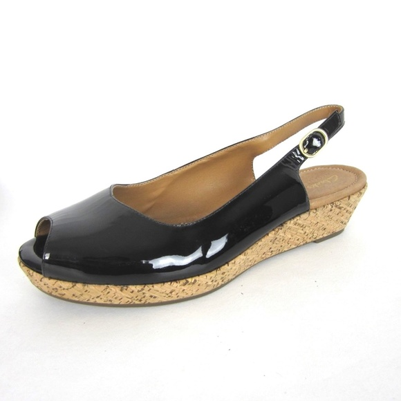 Clarks Orlena Wedge Black Patent Leather 9.5 Peep